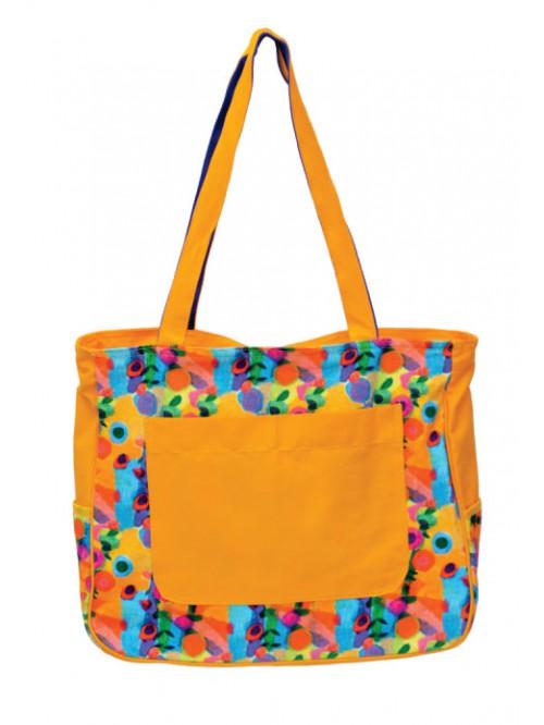 Flower Print Yellow Large Sized Bag