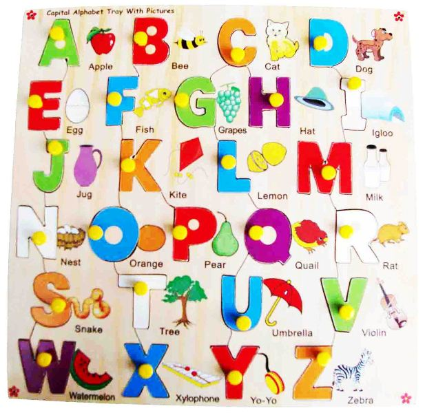 Wooden Capital Alphabet Picture Tray with Knobs