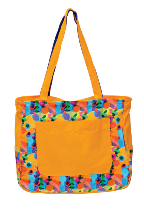 Flower Print Yellow Large Sized Bag