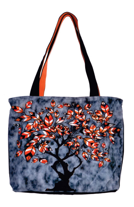 Tree Print Black Large Sized Bag